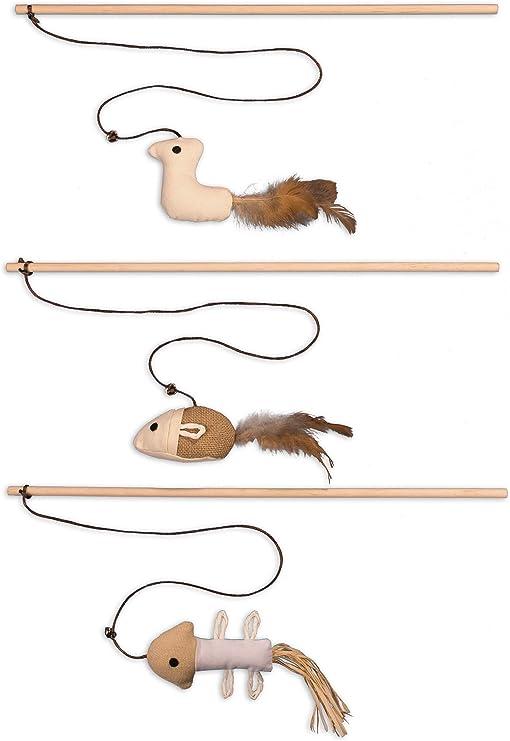 Ecoworks Premium - Juguete para gatos | Antigio natural robusto con ratón | Juego de 3 juguetes para gatos | Caja de regalo | Accesorios interactivos | Fibras y plumas naturales: Amazon.es: Productos para mascotas