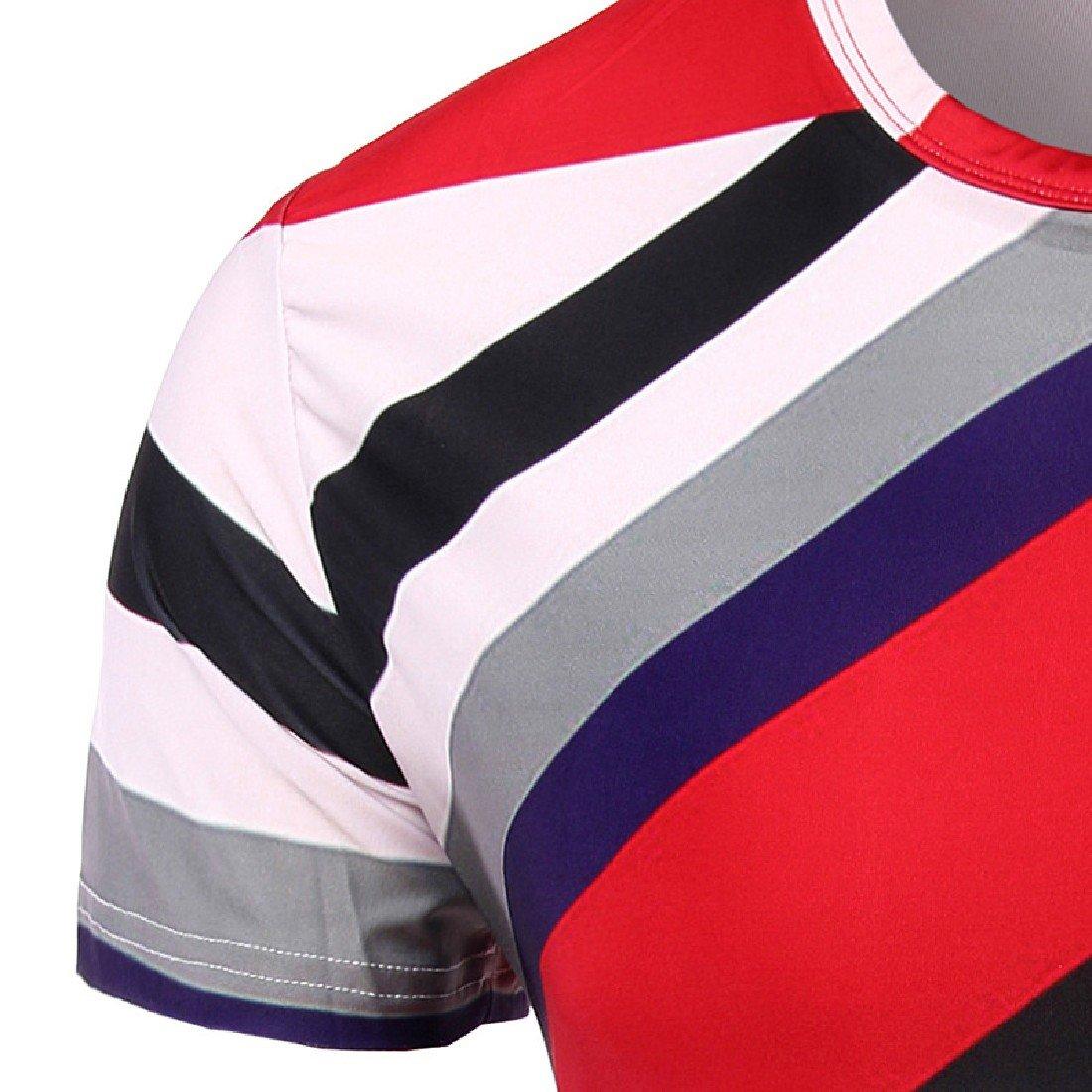 Honey GD Mens Slim Fit Flower Print Stripes Short-Sleeve Tees Top