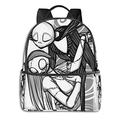 Jack and Sally Nightmare Before Christmas (93) Black Backpack Zipper School Bag Travel Daypack Unisex Adult Teens Gift: Computers & Accessories