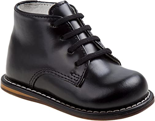 Josmo Infant//Toddler Boy/'s First Walker Black Ostrich Lace Up Oxfords Shoes
