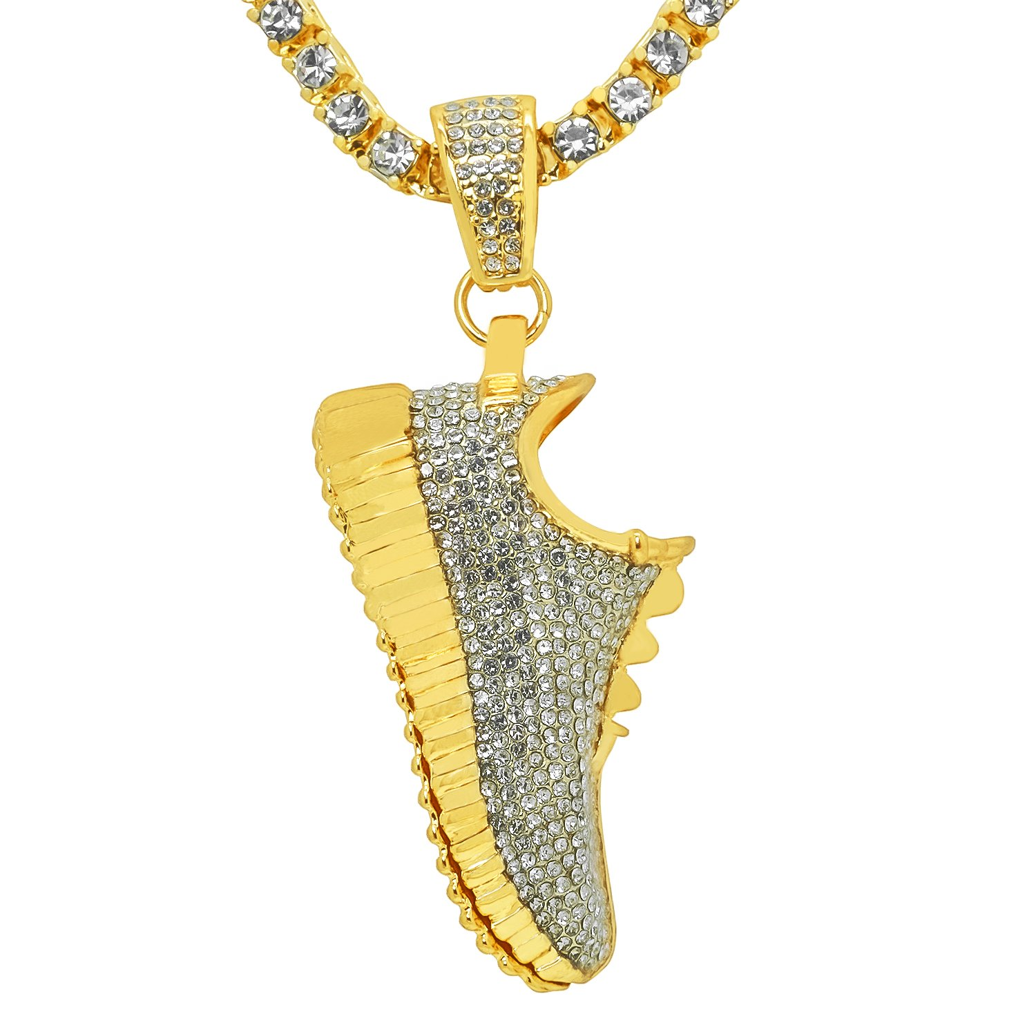 Yellow Gold-Tone Iced Out Hip Hop Bling Sneaker Shoe Pendant 1 Row Stones Tennis Chain 20 Necklace Choker Chain
