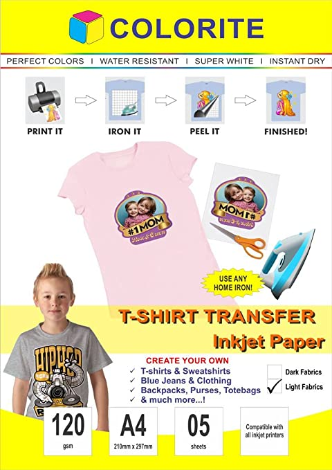 Colorite T Shirt Transfer Inkjet Paper Light Fabrics A4 / 5 Sheets