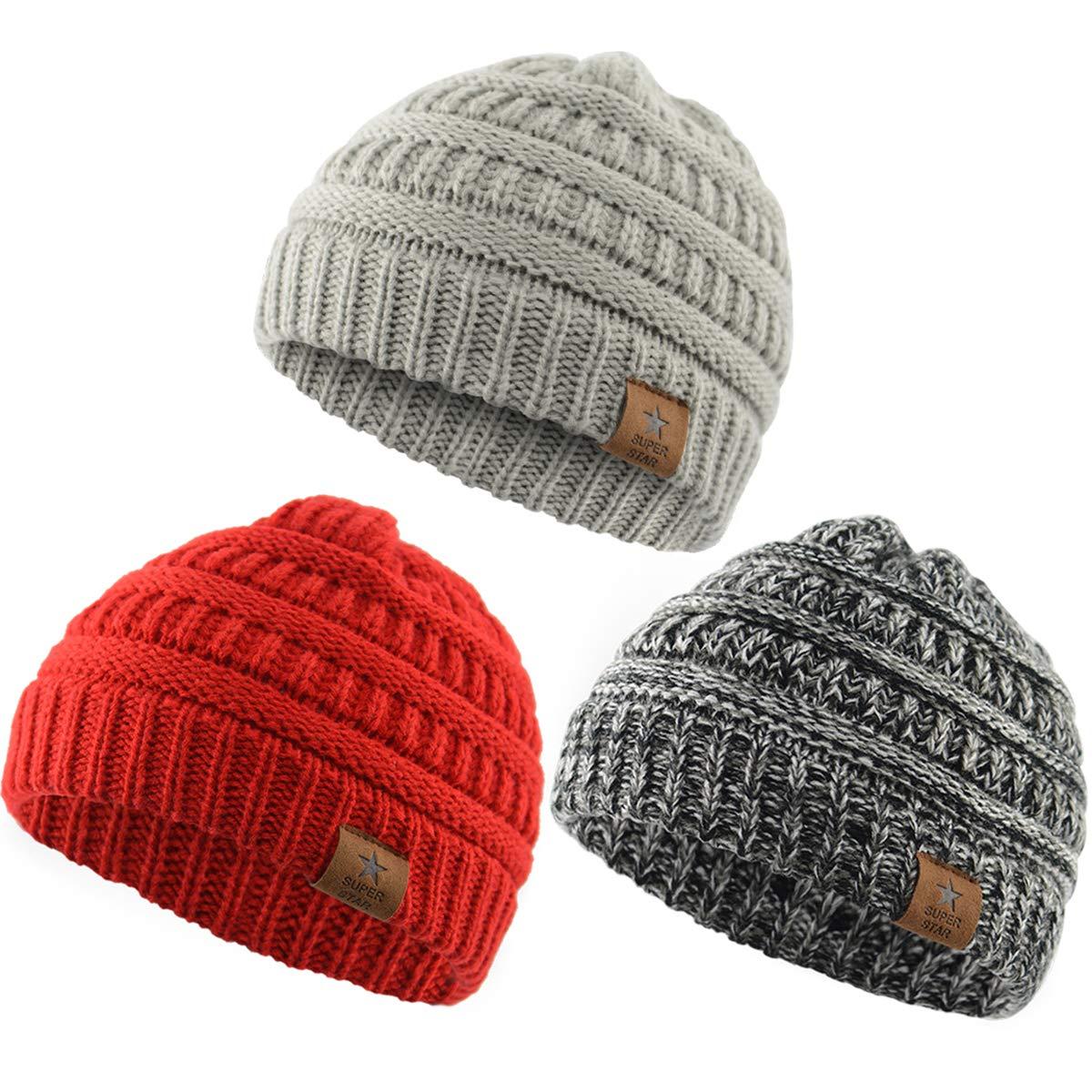 Baby Kids Knit Winter Warm Hats Boy Girl Infant Toddler Children's Beanie Caps 3 Pack Dark Grey& Llight Grey& Red