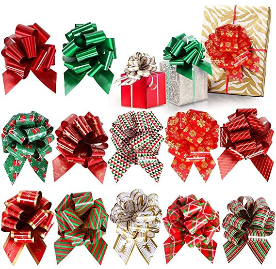 24 Pcs Christmas Gift Bows Pull Bows Ribbon Present Wrapping Accessories For Boxes Bags Baskets Wine Bottles Party Decorations 24 Pcs Amazon In Home Kitchen