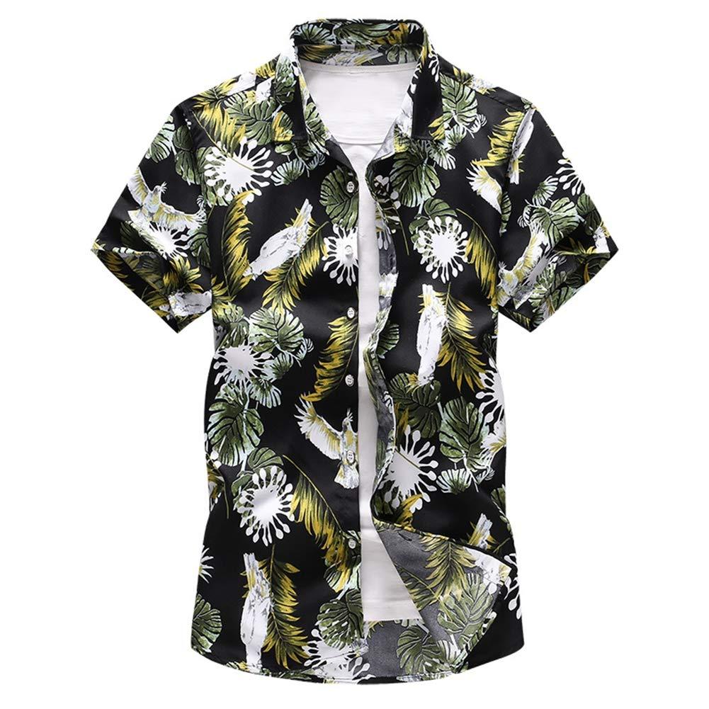 QHF Mens Hawaiian Printed Shirt Summer Beach Short Sleeve Shirts Holiday Party 6916-blue,Asian-Size-L