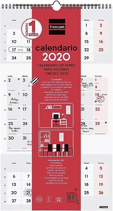 Finocam - Calendario de pared 2020 Escribir - 3 Meses Vista español: Amazon.es: Oficina y papelería