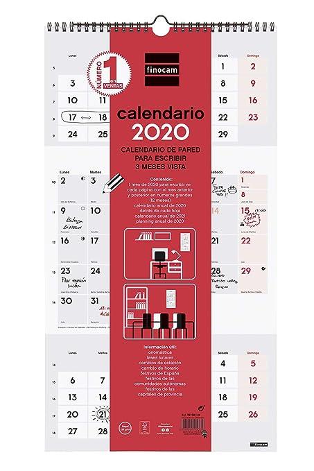 Calendrier Hebraique 2020.Finocam Calendrier Mural 2020 Ecrire 3 Mois Amazon Fr