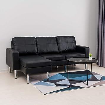 Mecor Modern Faux Leather L Shaped Sofa 3 Seater Sofa Corner Sofa