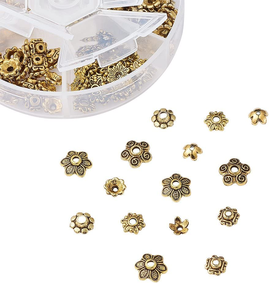 Pandahall 500pcs Tibetan Alloy Bead Spacers Kit Antique Bronze Silver Assortment Jewelry Beading End Beads for Bracelet Necklace Making Hole:1.5-3mm