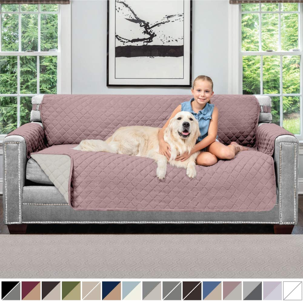 Sofa Shield Original Patent Pending Reversible Large Sofa Protector for Seat Width up to 70 Inch, Furniture Slipcover, 2 Inch Strap, Couch Slip Cover Throw for Pets, Kids, Cats, Sofa, Dusty Rose Linen