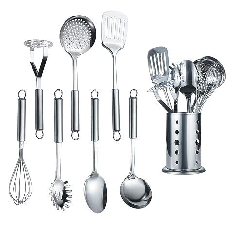 Berglander Utensilio de cocina de acero inoxidable de 7 piezas con 1 soporte, afinador ranurado, cucharón, espumadera, cuchara para servir, servidor ...