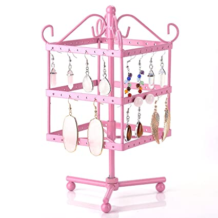 Ogrmar 4 Tiers Rotating Table 72 Pairs Earring Organizer//Earring Holder//Earring Tree//Necklace Earring Stand//Jewelry Display Stand