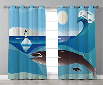 IPrint Stylish Window Curtains,Whale Decor,North Pole Graphic Landscape  With Penguin Wave And