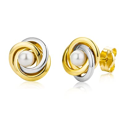 Miore 9 kt (375) Yellow Gold Cultured Pearl Stud Earrings for Women, 7mm