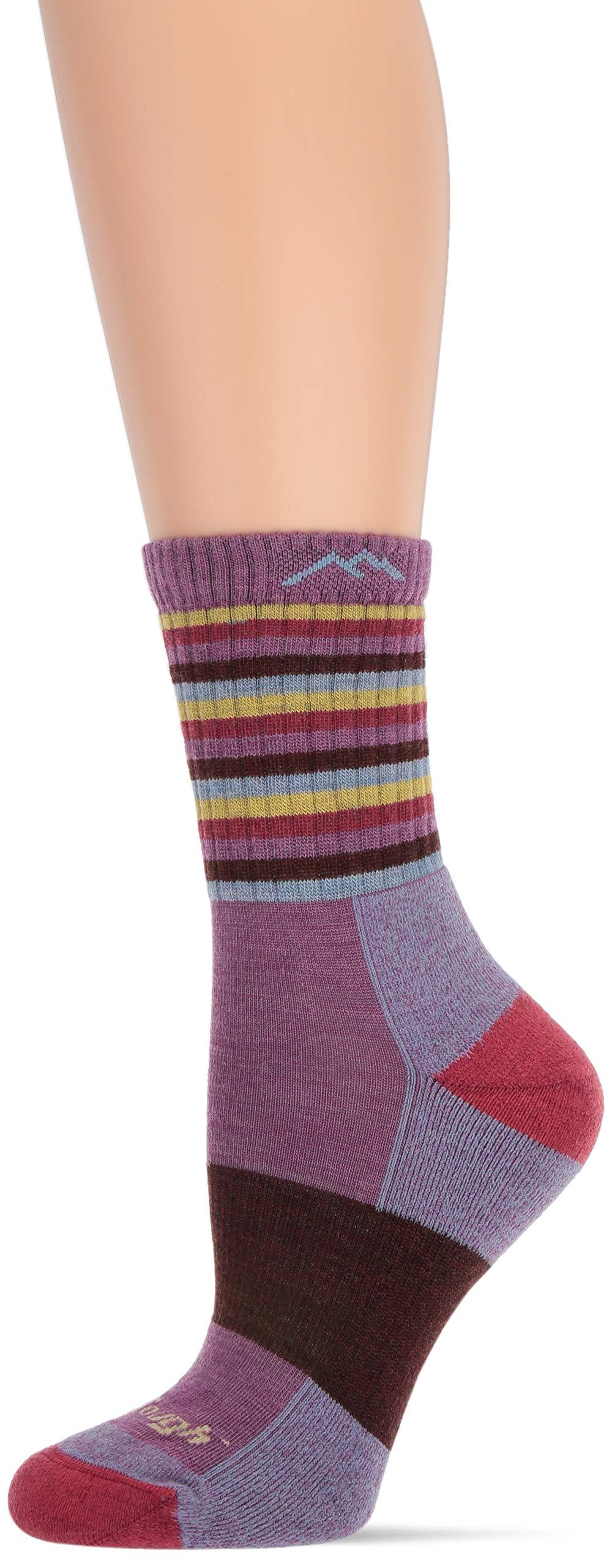 Darn Tough Vermont Women's Merino Wool Micro Crew Stripes Cushion Socks Plum Stripe LG (US 10-11.5) by Darn Tough