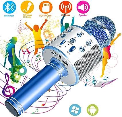 SunTop Micrófono Inalámbrico Karaoke Bluetooth, Portátil Altavoces Microfono, LED Microfono Niños para Cantar, Función de Eco, Compatible con Android, PC: Amazon.es: Instrumentos musicales