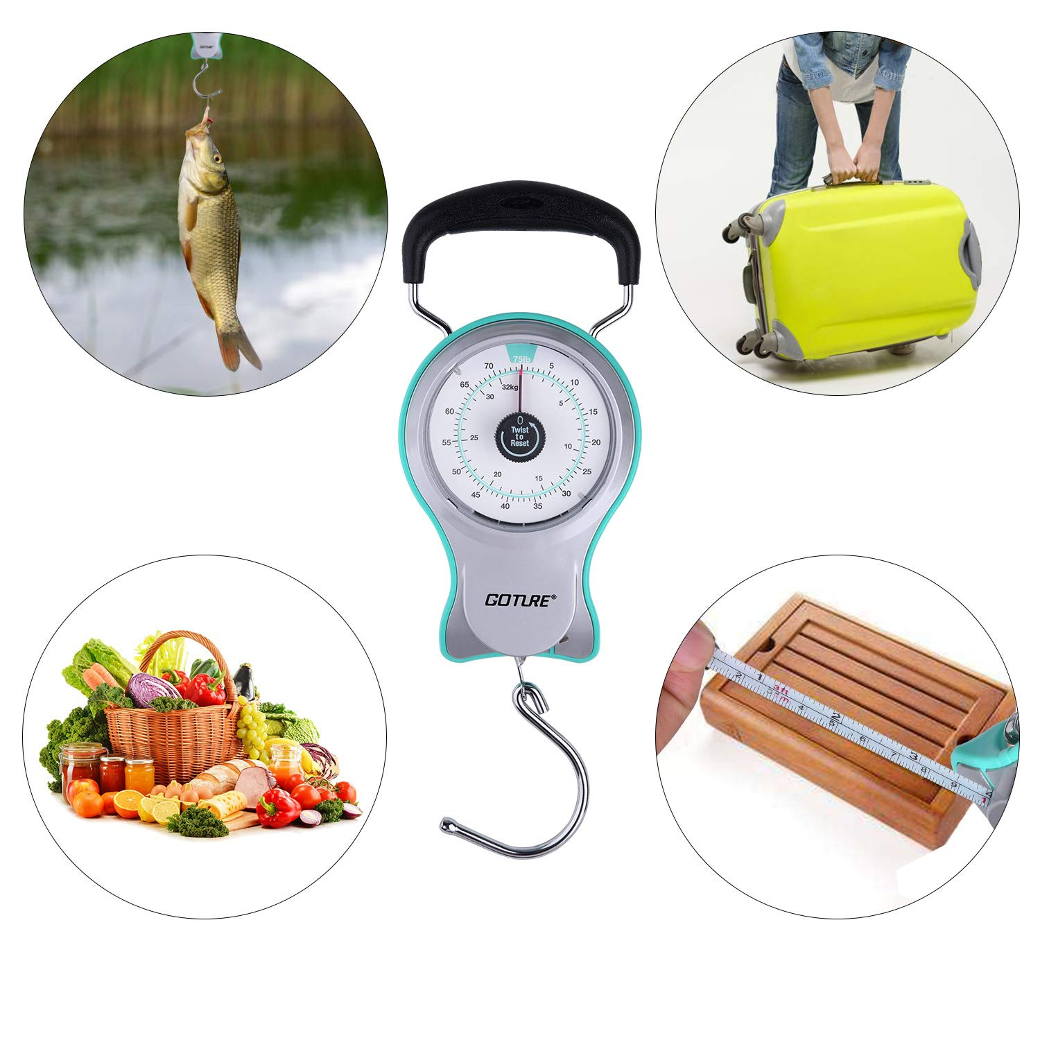 Goture Portable Fishing Weighing Scale Multi-Purpose Fishing Kitchen and Luggage Hanging Scales with Tape Measure (Capacity up to 75lb)