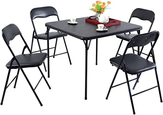 Oliver 5 Piece Black Folding Game Room Card Table and Chair Set Emma