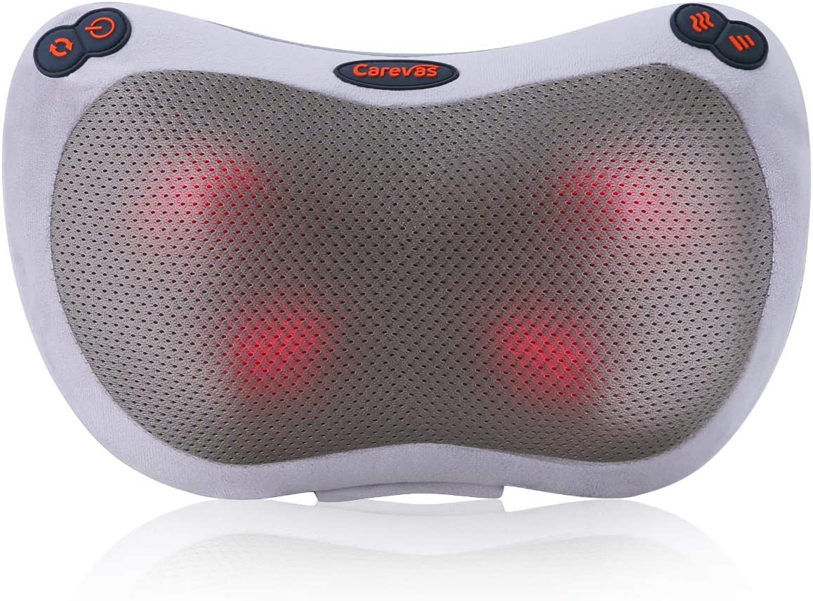 Carevas Neck Massager, Shiatsu Neck Back Massager with Heat, Deep Tissue Kneading Massage Pillow for Shoulder, Lower Back and Muscle Pain Relief, Gifts for Father
