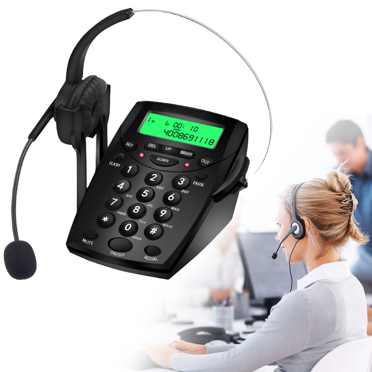 Wikoo Noise cancellation Headset Telephone with 30 incoming,5 outgoing number memories for Call Center Business,Insurance,Hospitals,Black