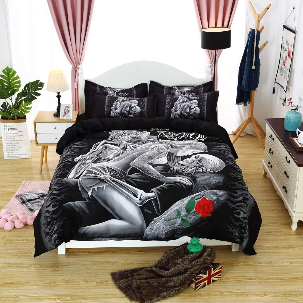 Beyonds Skin-Friendly 3 Piece Bed Set Black Deep Pockets Bedding Set Includes x1 Duvet Cover x2 Pillowcases - Soft Polyester Fabric - Home School Bed Decor