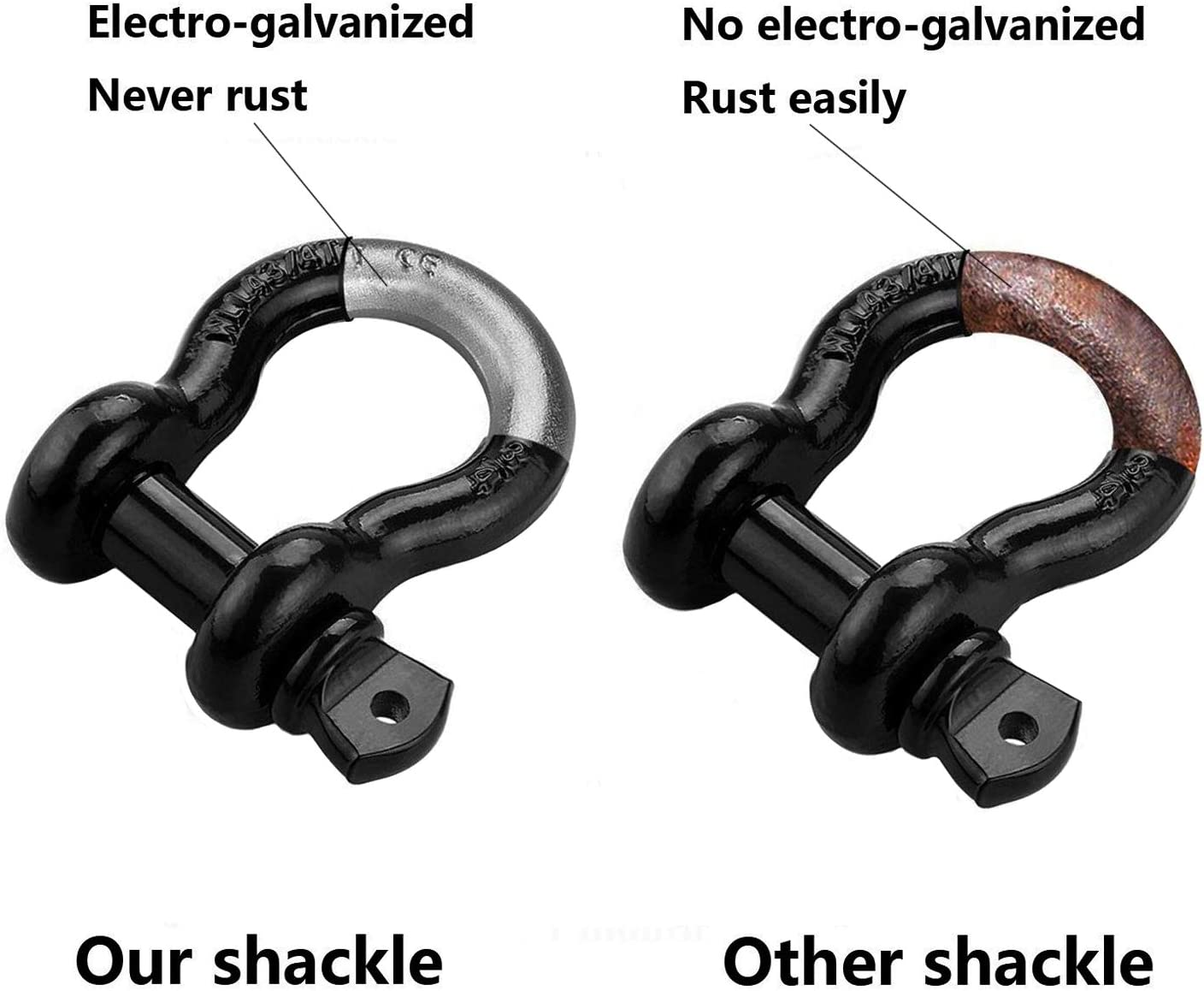 Ucreative 3//4 D Ring Shackle Rugged Off Road 28.5 Ton 57,000 lbs Maximum Break Strength with 7//8 Pin Heavy Duty for Jeep Vehicle Recovery 2-Pack
