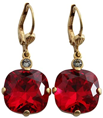 552eef826 Amazon.com: Catherine Popesco Goldtone Crystal Round Earrings, Red 6556G:  Jewelry