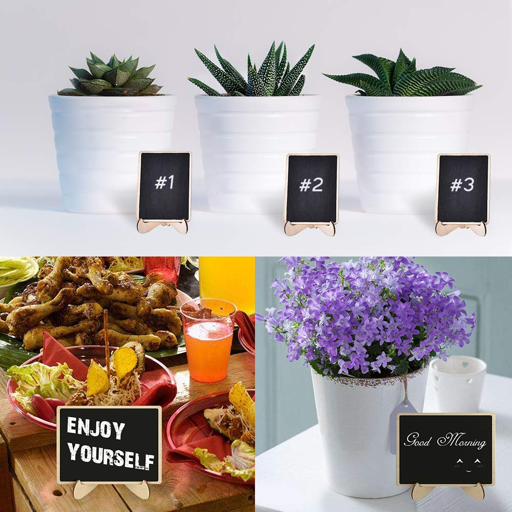 20 Pack Mini Chalkboards Signs, Small Wood Rectangle Chalkboards Blackboard with Stand Easels for Wedding Party, Message Board Signs, Place Card, Table Number, and Special Event Decorations