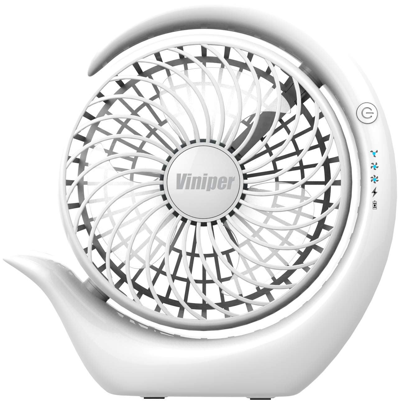 Battery Operated Fan, viniper Rechargeable Fan : 180° Rotation and 3 Speeds Strong Wind Portable USB Quiet Fan, Optimised Battery & Longer Working Hours, Hurricane Cooling (6.2 inch, White)