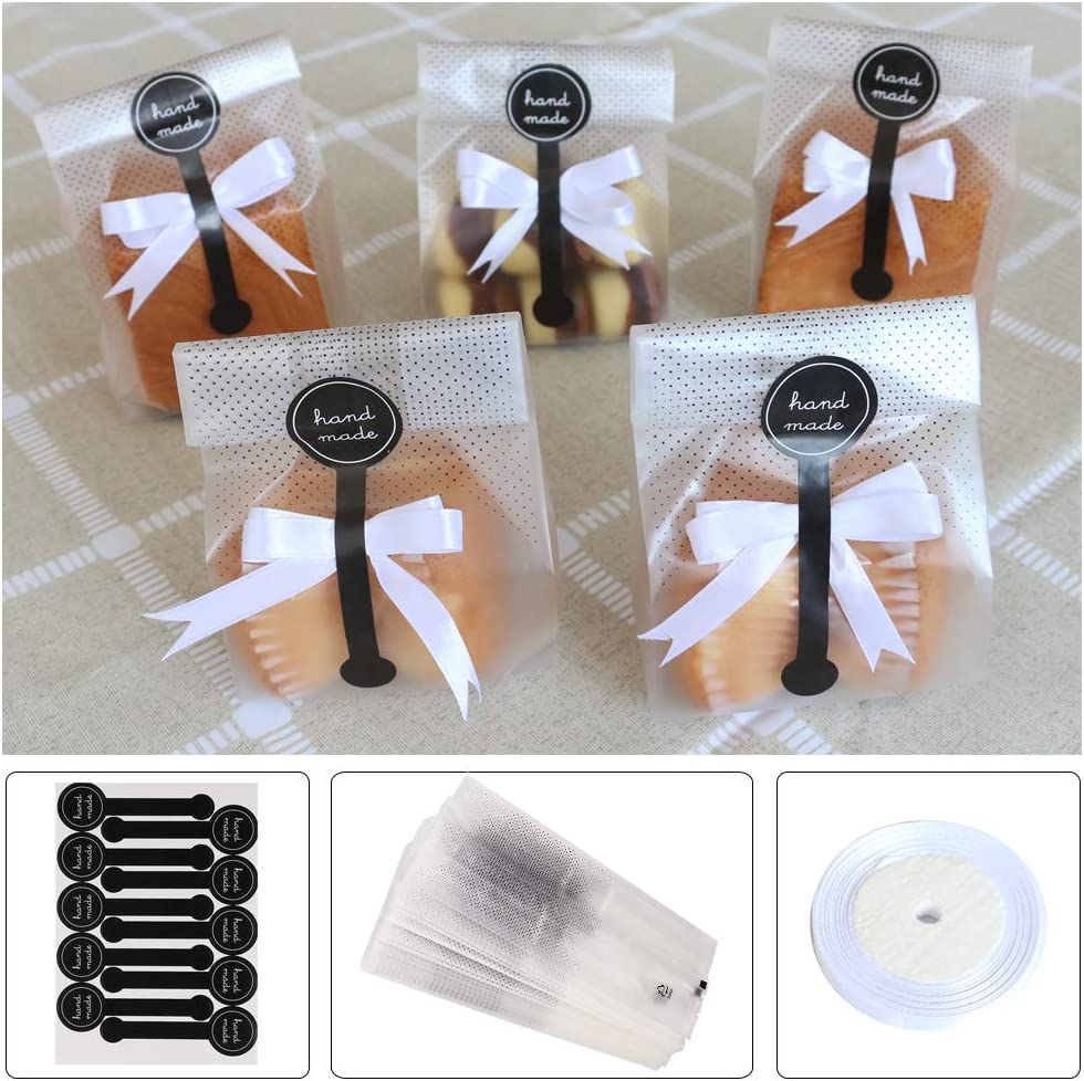 Cookie Bags for Packaging, Searik Translucent Plastic Cellophane Pastry Treat Bags for Party Gift Giving Bakery Bread Candy Chocolate Wrapping Goods with Stickers and Ribbon (3.5 x 8.8 Inches, 80 Pcs)