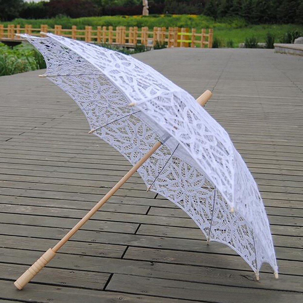 b2c01ff5367b Amazon.com: ESHOO Vintage Umbrella Cotton Lace Parasol Bridal Wedding Party  Decoration: Garden & Outdoor