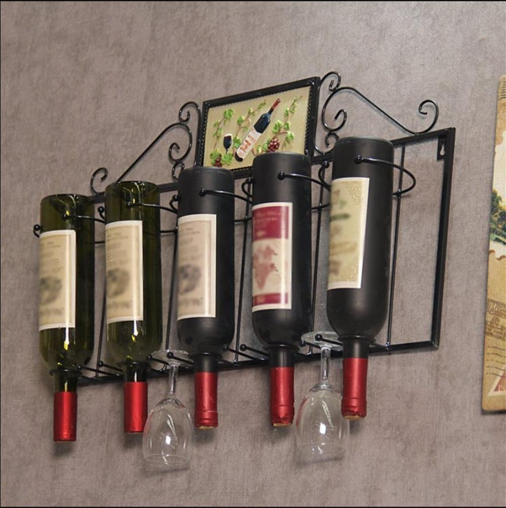 wine rack ,Iron, wall-mounted creative hanging living room restaurant bar Wall wine wine bottle rack , black Z&HAO