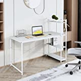 """FSTAR 47"""" Computer Desk with Storage Shelves Writing Study Table with 4 Bookshelves Modern Steel Frame Compact Wood Desk Home"""