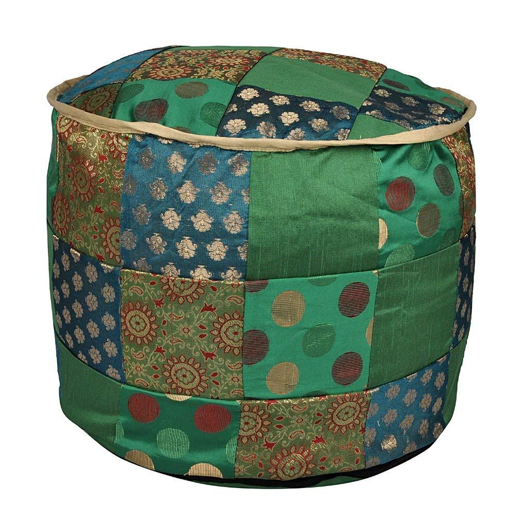 gemspalacestore Round Designer Footstool Floor Cushion Cover 17 X 17 X 13 Inches by gemspalacestore