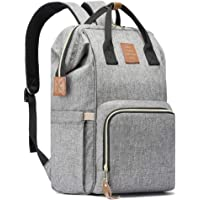 HaloVa Diaper Bag Multi-Functional Portable Travel Backpack Nappy Bags for Baby Care, Water-Resistant, Large Capacity, Stylish and Durable, Leather Tag, Heather Grey