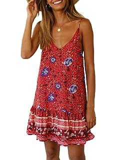 00824f72239 Asvivid Womens Casual Floral Printed V Neck Spaghettic Strap Ruffle Summer  Loose Beach Mini Short Dress