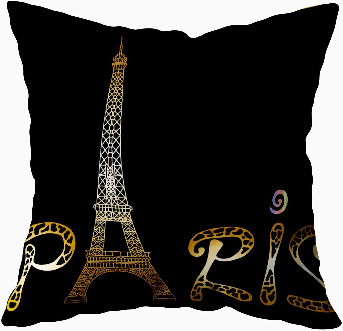 Capsceoll Art Pillow Case, Paris with Eiffel Tower and Drawing Sketch Raster Gold White Isolated 20x20 Pillow Covers,Home Decoration Pillow Cases Zippered Covers Cushion for Sofa Couch