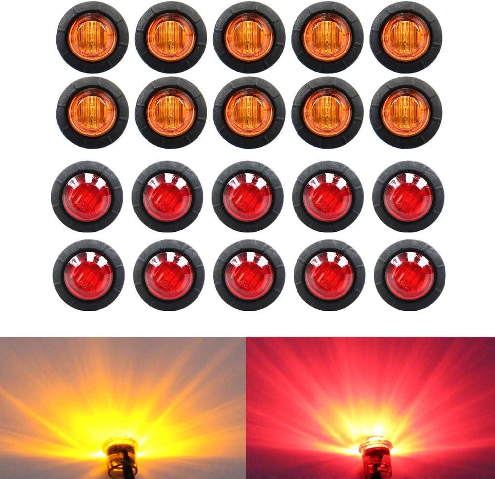 (Pack of 20) TMH 3/4 Inch Mount 10 pcs Amber + 10 pcs Red LED Clearance Bullet Marker lights, Side LED marker lights for trailer Truck RV Car Bus Van 71BiR5JeT2L