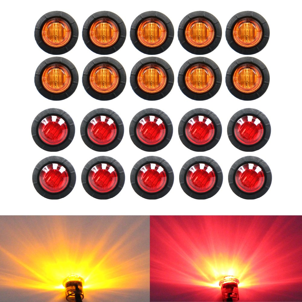 "( Pack of 20 ) TMH 3/4"" Inch Mount 10 pcs Amber + 10 pcs Red LED Clearance Bullet Marker lights, Side LED marker lights for trailer Truck RV Car Bus Van US-Amber+Red"