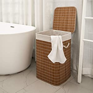 MHKanS Laundry Hamper with Lid Bamboo Dirty Clothes Storage Basket with Rope Handle and Removable Liner Rectangle Laundry Hamper Bin for Bathroom Bedroom Living Room Corner (Style 2)