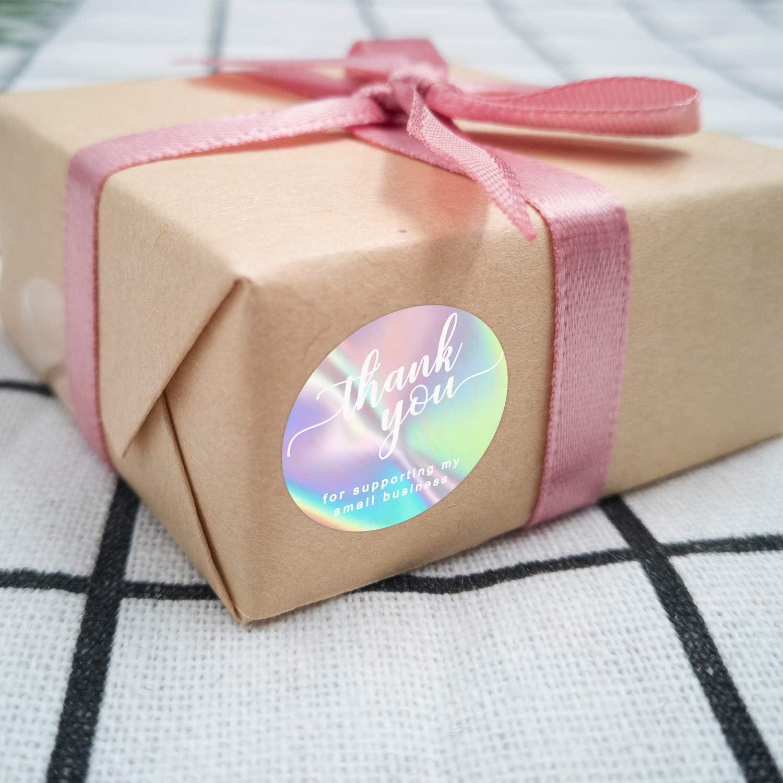 3,8 cm // 1,5 Pollici Rotondo Per Pacchetto Boutique AIEX 500 Pezzi Adesivi Olografici Arcobaleno Di Ringraziamento Etichette Adesive Per Piccole Imprese Sigillatura Busta