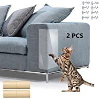 Pet Scratch Couch Protector 2 PCS, Furniture Scratch Guards, Clear Vinyl Pet Cat Dog Claw Guards with Self-Adhesive Pads for Upholstery Sofa Walls Mattress Car Seat with 8 Screws
