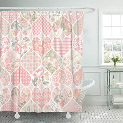 Emvency Decorative Shower Curtain Colorful Quilt Patchwork Pattern In Pastel Colors Pink Flower Heart Floral Butterfly