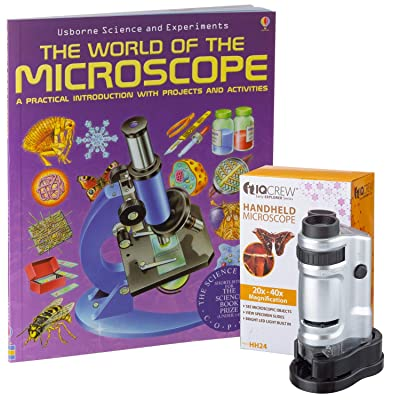 IQCREW by AmScope 20X-40X Kids LED Handheld Pocket Microscope + The World of The Microscope Book: Toys & Games [5Bkhe0307233]