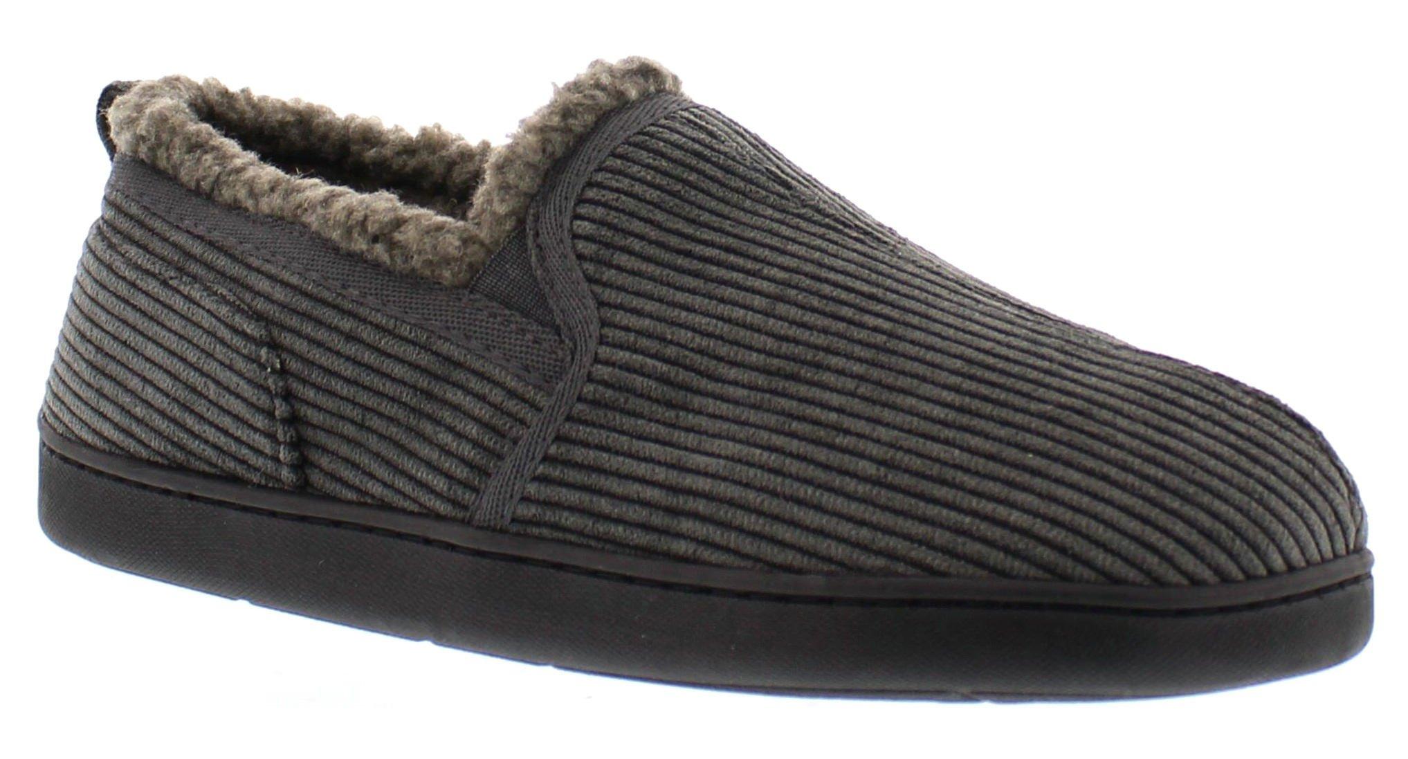 Gold Toe Men's Gordon Memory Foam Corduroy Slippers Sherpa Fleece Lined House Shoes Casual Slip On Loafer Grey 9 US