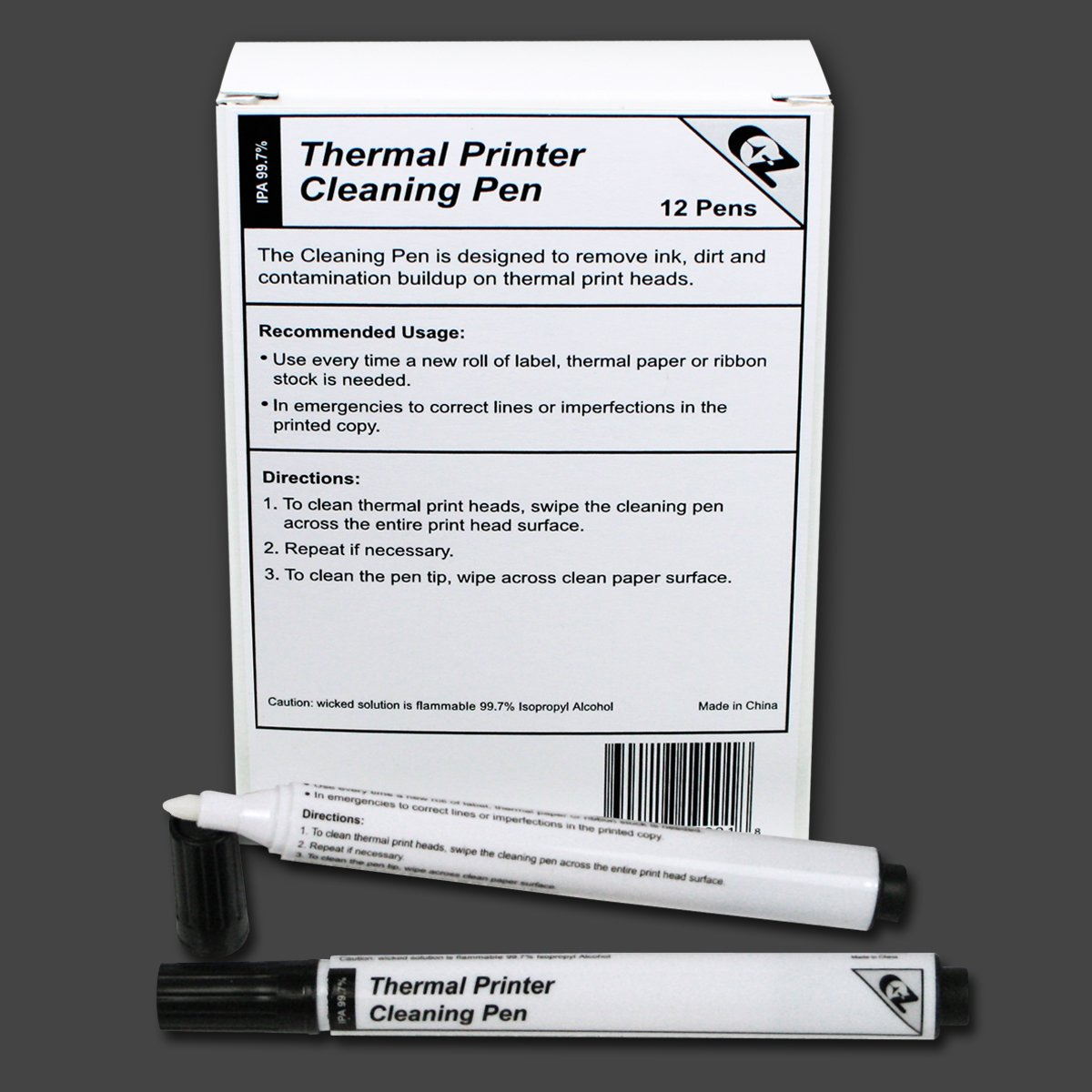 Thermal Printer Cleaning Pens for All Thermal Printers, Box of 12