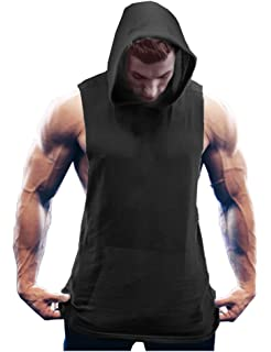 9d2ac8ec048ed1 COOFANDY Men s Workout Hooded Tank Tops Bodybuilding Muscle Cut Off T Shirt  Sleeveless Gym Hoodies