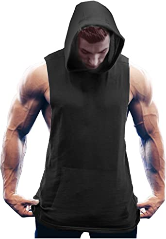 NEW Mens Muscle Hoodie Tank Top Bodybuilding Gym Workout Sleeveless Vest T-shirt
