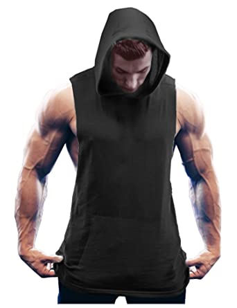 a776200f Coofandy Men's Workout Hooded Tank Tops Bodybuilding Muscle T Shirt  Sleeveless Gym Hoodies,Black,