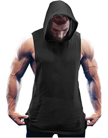 cbbd356bc0f1a1 COOFANDY Men s Workout Hooded Tank Tops Bodybuilding Muscle Cut Off T Shirt  Sleeveless Gym Hoodies
